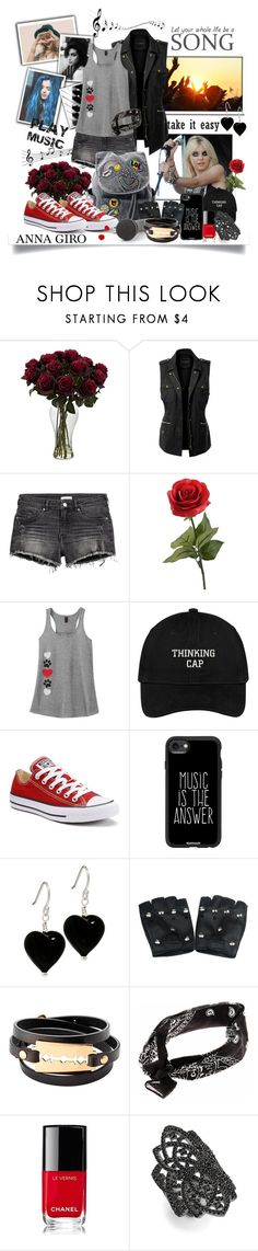 """""""Casual Spring Look"""" by annagiro ❤ liked on Polyvore featuring Amy Winehouse, LE3NO, Converse, Casetify, McQ by Alexander McQueen, Chanel, nOir, casual, rockgirl and Spring2017"""