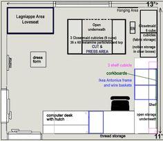 Sewing room floorplan | Diary of a Renaissance Seamstress