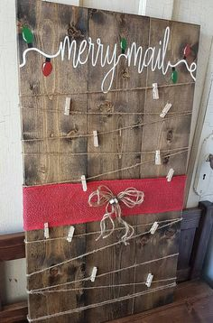 Merry Mail painted Christmas card holder!  Rustic Christmas card holder to complete your holiday decor!  Red glitter ribbon used or red burlap depending on supplies on hand. Measures 17x30