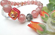 Handmade SET Natural Rhodochrosite Fused ART Glass  Solid Sterling Silver 3 PC. #EWArtistry