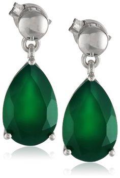 Sterling Silver Green Onyx Pear Shaped Dangle Earrings - http://www.loveuniquerings.com/pear-shaped-engagement-rings/sterling-silver-green-onyx-pear-shaped-dangle-earrings/