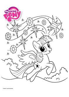 Le Pony Sparkle entrain de jouer avec les étoiles, beau dessin à colorier