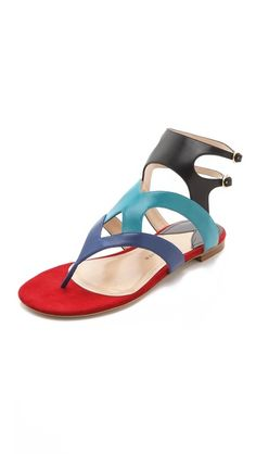 These are so edgy, with black shorts! The ankle strap is in. Paul Andrew Flat Sandals with Strap Detail