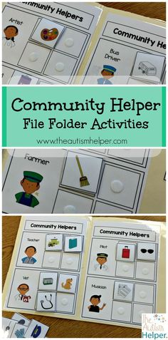 Community Helper File Folder Activities are some of my favorite file folder activities because they target basic sorting skills in a super functional way! I am always looking for ways to make work tasks & academics life skill-based & these resources hit t Community Workers, School Community, Classroom Community, My Community, File Folder Activities, File Folder Games, File Folders, Preschool Themes, Classroom Activities