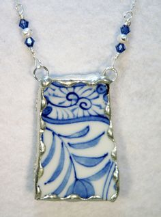 Broken China Jewelry Blue and White Necklace