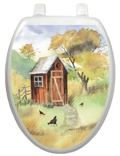 Toilet Tattoos  Outhouse Watercolor Decorative Applique for Toilet Lid, Elongated $9.95 http://www.amazon.com/gp/product/B002AKJZZE/ref=as_li_ss_tl?ie=UTF8=1789=390957=B002AKJZZE=as2=authenticdown-20  #toilettattoo #toilettattoos #toiletdecoration #toiletdecals