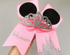 Princess minnie personalized cheer bow glitter tiara mickey ears pink