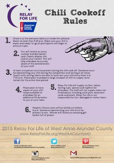 Chili Cookoff Rules  #Relay #Kickoff Chili Cookoff Throwdown! #Arundel #WestCounty