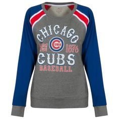 "Chicago Cubs Women's Grey, Red, White, and Royal ""Chicago Cubs Since Long Sleeve Shirt by & Ocean Chicago Cubs Fans, Chicago Cubs Baseball, Sporty Fashion, Sporty Style, Cubs Gear, Cubs Games, Cubs Shirts, Go Cubs Go, Comfortable Outfits"