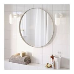 IKEA - LANGESUND, Mirror, white, Provided with safety film - reduces damage if glass is broken. Suitable for use in most rooms, and tested and approved for bathroom use. Large Bathroom Mirrors, Ikea Mirror, Round Mirrors, Window Mirror, Gold Bathroom, Ikea Grundtal, Ikea Us, Walnut Veneer, Bathroom Renos