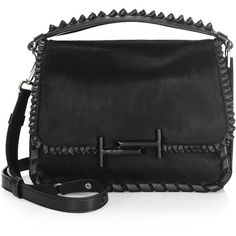 Tod's Studded Leather Messenger Bag (2'935 CHF) ❤ liked on Polyvore featuring bags, messenger bags, leather bags, courier bags, leather top handle bag and genuine leather messenger bag