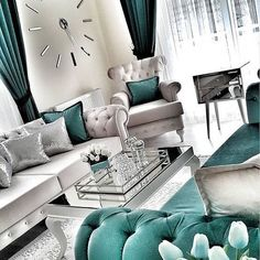 35 Modern And Luxury Living Rooms Design Ideas - Noor . - - 35 Modern And Luxury Living Rooms Design Ideas - Noor . Teal Living Rooms, Living Room Decor Cozy, Home Living Room, Apartment Living, Luxury Living Rooms, Cozy Bedroom, Bedroom Ideas, Cozy Apartment, Girl Apartment Decor