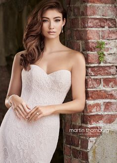 Martin Thornburg 119273 Zoe, strapless fit and flare wedding dress with Victorian lace motifs, a sweetheart neckline and removable straps. Bridal Wedding Dresses, Dream Wedding Dresses, Designer Wedding Dresses, Bridal Style, Fit And Flare Wedding Dress, Perfect Wedding Dress, Mon Cheri Bridal, Victorian Lace, Dressing
