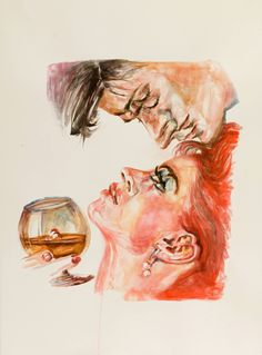 drunken couple, painting by shaon shapiro