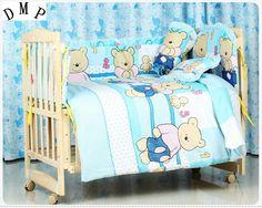 Promotion! 7pcs Baby bedding sets Bed set in the cot Bed linen for children Quilt  (bumper+duvet+matress+pillow) #Affiliate