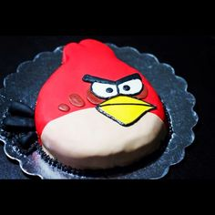 Angry Bird Cake - #custom #cake #angrybirds #fondant #sweets #cake #designs #party #themes #birthday #special #occasions #cakeoutsidethebox