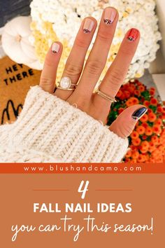 I'm so excited to share 4 of my favorite fall nail ideas!  And I'll even show you  how you can do them all at home! Fall is the perfect time of year to do a mani at home! You'll love them! #fallnailart #athomemanicure #diymanicure