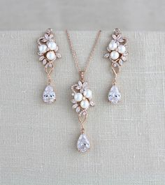 Rose Gold Bridal Earrings Crystal Wedding Earrings Bridal Jewelry Necklace Set J . - Rose Gold Bridal Earrings Crystal Wedding Earrings Bridal Jewelry Necklace Set J … – Rose Gold - Rose Gold Bridal Jewelry, Gold Bridal Earrings, Bridal Jewelry Sets, Bridal Necklace, Wedding Earrings, Crystal Earrings, Wedding Jewelry, Silver Jewelry, Necklace Set