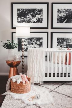 Baby nursery decor - Ideas para decorar la habitación del bebé - Baby girl modern eclectic nursery. White monochrome gender neutral nursery with copper accents. Mountain Home, Arkansas - Megan Burges Photography.