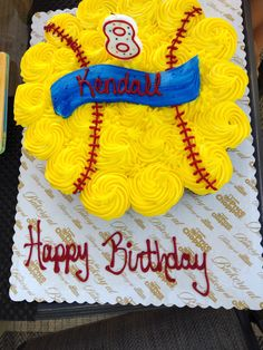 Softball Cake made out of 24 cupcakes
