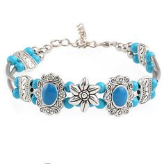 awesome Hot Fashion Tibetan Silver Jewelry Beads Bangle Turquoise Chain Bracelets - For Sale View more at http://shipperscentral.com/wp/product/hot-fashion-tibetan-silver-jewelry-beads-bangle-turquoise-chain-bracelets-for-sale-4/