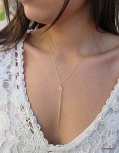 stone Y necklace, Y necklace with tassel, Tassel Necklace, Layering Necklace,delicate Y Necklace, gold rosary necklace, April birthstone by TommassiniJewelry on Etsy