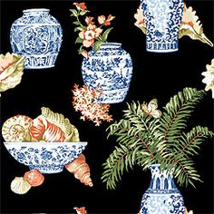 Bermuda #wallpaper in #black from the Boat House collection. #Thibaut
