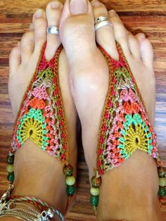 Crochet Cotton Barefoot Sandals by Lunaress on Etsy