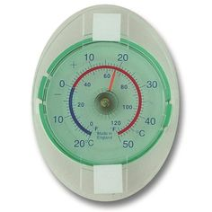 This dial window thermometer allows the outside temperature to be read from inside, through the window. The window mounted thermometer fixes directly onto the outside of the window.