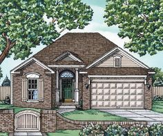 The hip roof and circle-top transom over the front door of this Southern house plan give it a charming appearance.With only two bedrooms and a compact size, it works well for the empty nester or retiree.The open layout of the main living area makes the house feel much larger.A walk-in pantry and big island enhance the kitchen.The master suite enjoys a quiet location in the back of the house while family or guests have a front view.