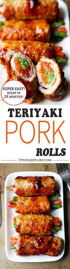 Teriyaki Pork Rolls - Sweet & savory teriyaki pork rolls filled with veggies make these pork rolls easy for kids to love! Recipe, easy, healthy, meat, main | http://pickledplum.com
