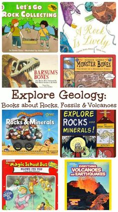 Great books that explore rocks, fossils and volcanoes along with hands-on activities! #stem