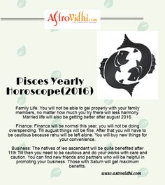 Get your Pisces Yearly horoscope from AstroVidhi. Check your Pisces yearly love, career, business horoscope & relationship compatibility in your Pisces Yearly horoscope. We are your free source to get your Pisces yearly horoscope. Horoscope Relationships, Relationship Compatibility, Yearly Horoscope, Pisces Love, Life Thoughts, Family Life, You Got This, Career, Business