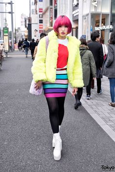 This is a nice clean modern look Mitake on the street in Harajuku wearing a neon faux fur coat from Galaxxxy with a bodycon skirt, Tokyo Bopper platforms, and a WEGO faux fur bag