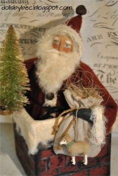 Primitive, Folk Art, Christmas, OOAK Santa In Chimney...Olde Chimney Santa.. via Etsy.