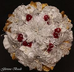 Amazon.com: Burgundy and Gold Beaded Lily Wedding Flower 17 piece set with White and Gold Roses ~ Unique French beaded flowers and beaded sprays: Handmade