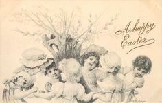 six children make ring around willow stump