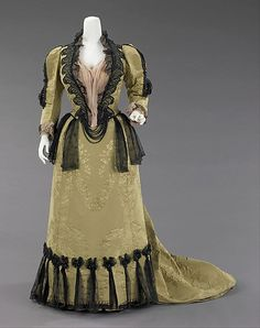 Ensemble Design House: House of Worth (French, 1858–1956) Designer: Attributed to Charles Frederick Worth (French (born England), Bourne 1825–1895 Paris) Designer: Attributed to Jean-Philippe Worth (French, 1856–1926) Date: 1893 Culture: French Medium: silk, jet, metal