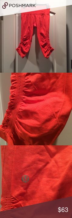 Lululemon In The Flow Crops. Orange-y/Coral color Only wore minimally. Logo still 100% in tact. A bit wrinkly from being folded in drawer but in excellent condition. lululemon athletica Pants