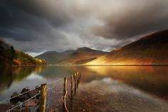 Looking across to Scafell, the highest mountain in England, from the banks of Wastwater in the Lake District National Park.