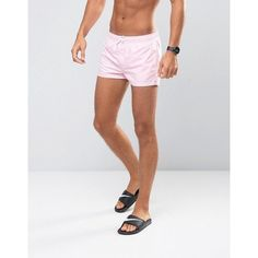 ASOS Swim Shorts In Pastel Pink Super Short Length ($18) ❤ liked on  Polyvore featuring men's fashion, men's clothing, men's swimwear, short mens  clothing, ...