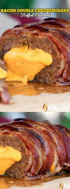 This AMAZING Bacon Double Cheeseburger Stuffed Meatloaf recipe from The Slow Roasted Italian is BURSTING with flavors! It gets stuffed with cheese and covered in a delicious brown sugar ketchup glaze that will make your mouth water! Cheese Stuffed Meatloaf, Bacon Wrapped Meatloaf, Stuffed Meatloaf Recipes, Lamb Recipes, Easy Chicken Recipes, Cooking Recipes, Supper Recipes, Bacon Recipes, Cookbook Recipes