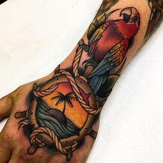 #tattoo by @samkanetattoo ............#traditional #traditionaltattoo #traditionalartist #oldtattoo #oldschooltattoo #tattooartist #tattooart #tattoos #ink #inked #classictattoo | Artist: @traditionalartist