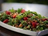Arugula Salad with Candied Sunflower Seeds and Strawberry Vinaigrette : Recipes : Cooking Channel