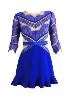 SHADES OF BLUE Lace Dress - Pre-order for delivery within 10th june 2013Make an unforgettable entrance with this vibrant cobalt blue dress. Made of soft crepe, nude mesh and lace, all pieced together for a beautifully chic design. This piece includes: plain blue skirt with frill hem and lace top with three-quarter length sleeves and gold metal zip.  Lace and Mesh: 100% PolyamideSkirt: 98% Polyester 2% ElastaneLining: 90% Polyester 10% Elastane  Cool hand wash
