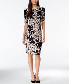 Connected Short-Sleeve Printed Sheath Dress - Dresses - Women - Macy's