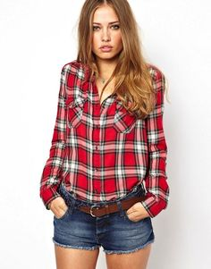 Image 1 of Hilfiger Denim Check Shirt With Contrast Back Dope Fashion, Urban Fashion, Fashion Tips, Fashion Design, Fashion Trends, Hilfiger Denim, Tartan, Moto Style, Red And Black Plaid