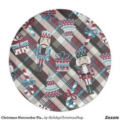 Christmas #Nutcracker Plaid Blue Burgundy Dinner #Plates #Christmas #HomeDecor #HolidayGifts #Gifts #Shopping