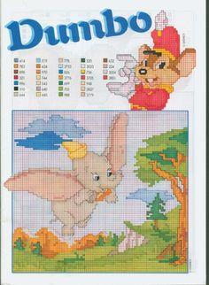 "Dumbo ""Dumbo and Timothy Q. Disney Magic, Walt Disney, Disney Cross Stitch Patterns, Cross Stitch Designs, Cross Stitch Baby, Cross Stitch Charts, Cross Stitching, Cross Stitch Embroidery, Disney Stich"