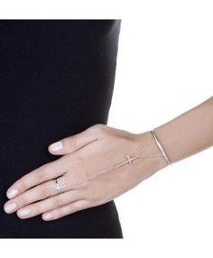 pulseira de dedo com cruz semijoias finas